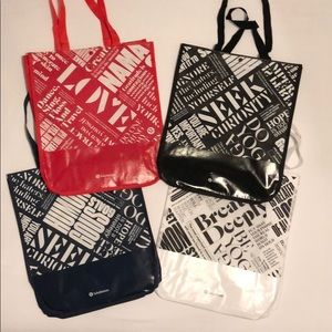 4 Large Special Edition Lululemon Tote Bags Mint